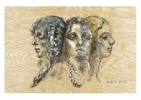 three sisters and lady (2 works) by yoshihiko wada