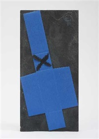 ohne titel (+ rückblick (recto and verso), mixed media on cardboard, lrgr; 2 works) by ernst geserer