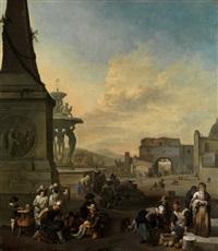 markttreiben auf der piazza del popolo in rom by johannes lingelbach