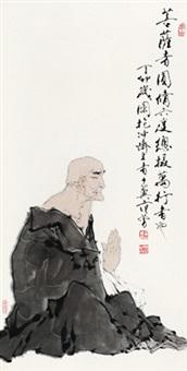 菩提老者 镜心 设色纸本 (painted in 1987 elder) by fan zeng