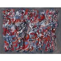 figurengruppe aus der serie carnevales by rené portocarrero