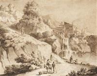 italienskt landskap med figurer by cornelis visscher