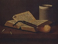 still life of a pipe, book and cup by maurice a. waas