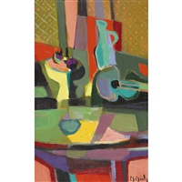 guitare et compotier by marcel mouly