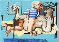picasso med model (lille version) by peter holck