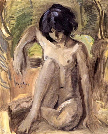 seated nude by federico aguilar alcuaz