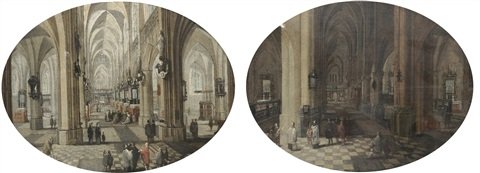 the interior of antwerp cathedral by day (+ the interior of antwerp cathedral by night; pair) by peeter neeffs the elder