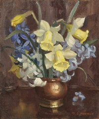 daffodils and hyacinth by marguerite stuber pearson