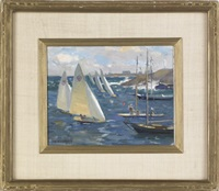 coastal scene with sailboats by marguerite stuber pearson