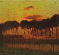 sunset through a row of trees by charles warren eaton