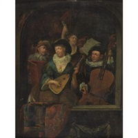 a merry company playing music by eglon hendrik van der neer