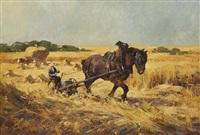 paysage estival avec paysan au travail by simon van gelderen