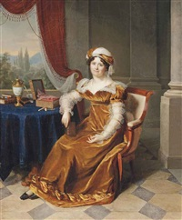 portrait of a lady, traditionally identified as julie masbou, neé garrigues, full-length, in a golden dress with a turban, in an elegant interior, a landscape beyond by firmin massot