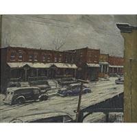 west philadelphia neighborhood in winter by louis b. sloan