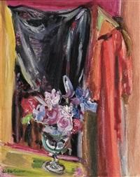 fleurs et châle noir by werner hartmann