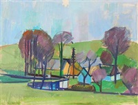 landscape with houses and trees by jack kampmann