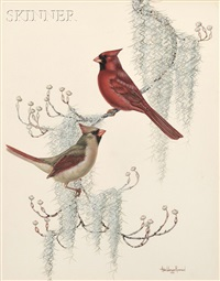 cardinals (+ blue jays; 2 works) by anne worsham richardson