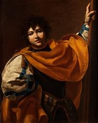bildnis eines jungen mannes mit hellebarde by simon vouet