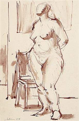 stehender weiblicher akt frauenakt auf hocker sitzend weiblicher akt auf stuhl sitzend 3 works some lrgr 1 brush ink mntd together by henri georges adam
