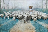 a shepherdess with sheep and lambs on a country track by edward van goethem