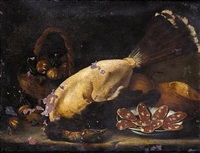 still life of a basket of figs together with a plucked bird, a plate of salami and loaves of bread on a stone ledge by bartolomeo arbotori