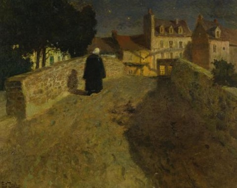 towards the pont lovignon pont fleuri in quimperlé by frits thaulow