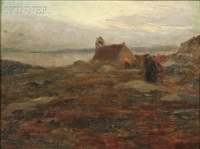 quiet coastal view with church at dusk by oscar koelliker