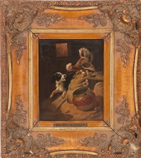 a barn interior with a hen protecting her chicks from a dog by henriette ronner-knip