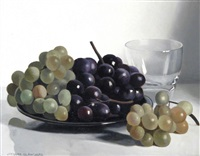 still life of grapes in a dish by a glass by jacques blanchard