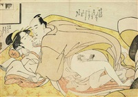 couple on a yellow carpet (aiban, yoko-e) by katsukawa shuncho