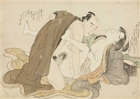 lovers on the floor next to a makura (aiban, yoko-e) by katsukawa shuncho