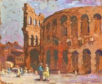 blick auf das kolosseum in rom by konrad honold