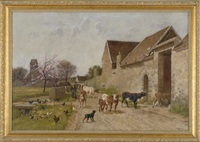 shepherdess leading her cows home past chickens and a flowering cherry tree by william baptiste baird