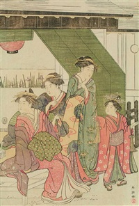 a courtesan, two shinzo and a kamuro sitting underneath the sudare (ôban) by katsukawa shuncho