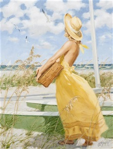 budding artist in yellow dress by albert leslie buell