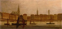 vessels on a venetian waterway, a capriccio by c. granci