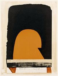 abstrakte kompositionen mit ockertönen, braun, schwarz und teils orange (4 works) by alexander camaro