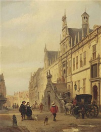 view of the breestraat in leiden with figures before the city hall by johannes bosboom