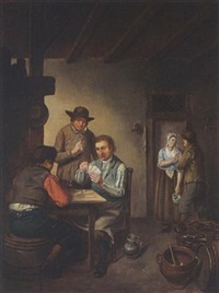 a tavern interior with men playing cards by jacob akkersdijk