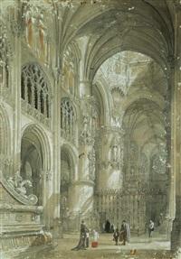 vista del crucero de la catedral de burgos by genaro perez villaamil
