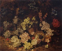 spring blossoms and a bird's nest with eggs on a mossy bank by henry j. livens
