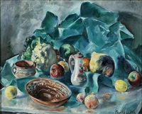 still life-fruit, vegetables, and pottery by martha walter