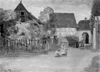kinder auf der dorfstraße by georg tyrahn