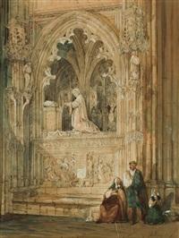 vista del sepulcro de don alonso de roxas en la catedral de toledo by genaro perez villaamil
