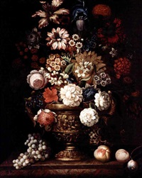 still life with roses, irises, narcissi, and various other flowers in a bronze urn, together with peaches and a plum on a marble ledge by anglo-flemish school (18)