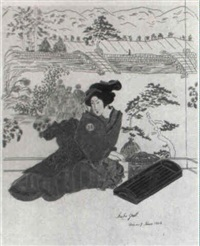 japanerinnen in verschiedenen interieurs, samurai u.a. (konvolut) by margarethe strasser