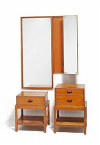 two-part folding mirror and two chests by rigmor andersen