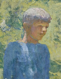 portrait head of a boy, an exercise in backlighting by frank weston benson