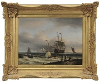 dutch man-o-war at anchor offshore by thomas luny