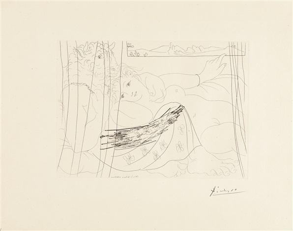 minotaure et jeune femme enlacés rêvant sous une fenêtre, pl.91 (from suite vollard) by pablo picasso